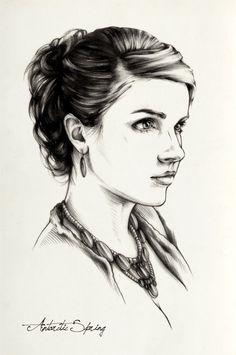 Girls pencil portraits by Antarctic Spring, via Behance