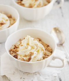 Ricotta Lattes: Not a drink. A perfect summer dessert! Ricotta coffee puddings, topped with mascarpone whipped cream and crushed biscotti. No-cook and make-ahead friendly, too!
