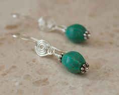 Turquoise and Silver Spiral Earrings Turquoise by SusanRabcow