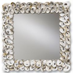 "Oyster Shell Mirror Oyster shells are collected and arranged on a wood frame so you can share your love of these delicious bivalves! (20""Square x 2""D)"