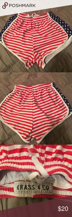 Krass Co. American Flag Shorts these are in very good condition except for one tiny tiny speckle of red paint that won't come out (wore these to a football game with paint) but it's not noticeable!!  I pictured the stain in the last image!!  **NOT VINEYARD VINES JUST USED THAT FOR ADVERTISEMENT**  They are the brand Krass Co. which is a very popular preppy brand!! Vineyard Vines Shorts