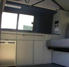 Camper campervan conversion unit curve gloss white vw for Camper van kitchen units