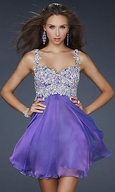A-Line Jewel Lilac Chiffon Dress #dress #fashion #clothes