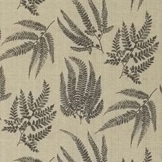 Kernow Printed Fabric - A distinctive silk viscose fabric with a soft shimmer to its surface and delicate pattern of scattered ferns in charcoal on an antique gold ground. It is designed by Rosie Mennen and digitally printed to capture the finesse of her original painting.