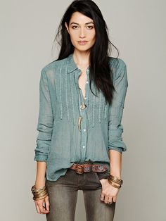 Free People FP ONE Gauze Buttondown at Free People Clothing Boutique