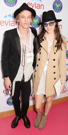 British models Jamie Campbell Bower and Matilda Lowther wearing Burberry to attend Wimbledon in London