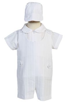 Little Things Mean A Lot Boys 100/% Cotton White Convertible Christening Baptism Set with Hat