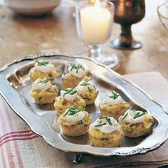 Mini Bacon and Potato Frittatas      Turn a breakfast dish into bite-size appetizers by baking the egg mixture in mini muffin cups. These can be served warm or at room temperature