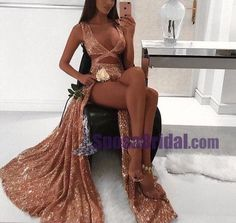 2018 Charming Sexy Sequin Sparkly Simple Rose Gold and Black Split Fashion Popular Prom Dresses, Evening dresses, PD0594