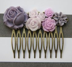 Cabochon utopia bridal bride hair pin comb romantic vintage flare affair modern purple nature rose flowers antique victorian filigree by EtsyNazi on Etsy