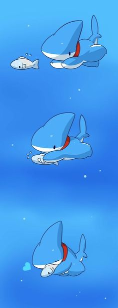 Vress, cute, comic, underwater, hugging, chasing, fish; Vress the Shark Puppy