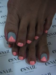 Cute pedi, maybe with pink  orange instead of grey :-)  | See more at http://www.nailsss.com/french-nails/3/