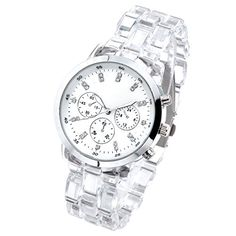 Top Plaza Women's Fashion Crystal Watch, Round Case,Silver Tone- White - Jewelry For Her