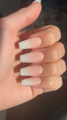 French Fade With Nude And White Ombre Acrylic Nails Coffin Nails - Nageldesign - Nail Art - Nagellack - Nail Polish - Nailart - NailsFrench Ombre Nails with Gold Glitter; Acrylic Nails Coffin Short, Simple Acrylic Nails, Summer Acrylic Nails, Best Acrylic Nails, Summer Nails, White Acrylic Nails With Glitter, Glitter Fade Nails, Coffin Nails Ombre, Sparkle Nails