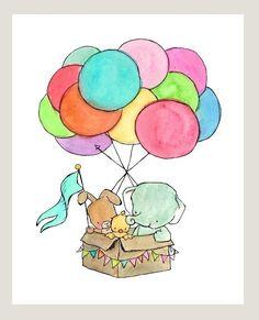 Elephant, Bunny, and Chick Hot Air Balloon nursery print