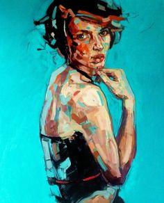 """Saatchi Online Artist: Anna Bocek; Oil, 2011, Painting """"Cafe Rose"""""""