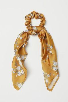 Hair Jewelry Scrunchie with Scarf Detail - Dark yellow/floral - Ladies Scarf Hairstyles, Braided Hairstyles, Fashion Hairstyles, Natural Hairstyles, Bleach Tie Dye, Twist Headband, Hair Accessories For Women, Yellow Accessories, Summer Accessories