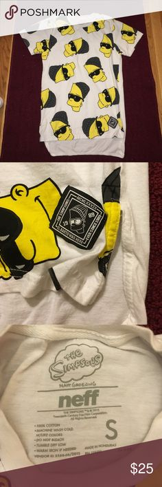 The Simpsons x Neff tshirt The Simpsons collab with Neff. Features an all over rad Bart Simpson on front only. Tshirt is a high-low style and is all white in back. Perfect quality, only worn a few times Neff Tops Tees - Short Sleeve