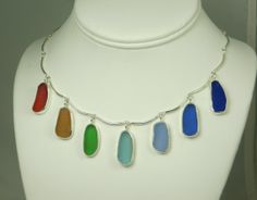 Rare Rainbow Sea Beach Glass Bezel Necklace por mainelyseaglass, $340.00