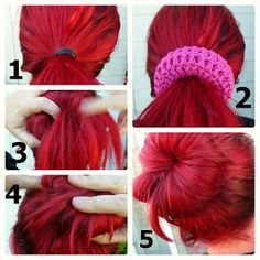 Free crochet pattern for a sock bun. Put bobby pins right through the stitches to secure loose ends. Genius!!