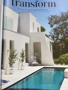 Rendered white walls and pool