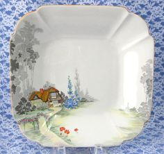 1920s Shelley Cottage 2 Queen Anne Square Serving Bowl Paneled Bowl Ar – Antiques And Teacups  ~ Great pin! For Oahu architectural design visit http://ownerbuiltdesign.com