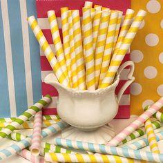 Milk Shake Paper Straws 25 YELLOW Striped Big by ThePartyFairy, $6.00