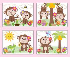 Safari Animals Monkey Nursery Decor Prints Wall Art Girl Pink Floral Baby Shower…