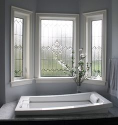 idea for tub area - lead glass- scottishstainedglass.com - bathroom ideas can be found at http://www.scottishstainedglass.com/stained-glass-windows/stained-glass-bathrooms/
