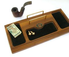 Vintage Men's Dresser Valet, 1960s 1970s, Wood Tray Organizer Jewelry Cuff Links