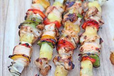 Grilled Kebabs with Chicken, Pineapple, Peppers and Sweet Chili Sauce