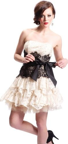 Strapless Bustier Contrast Lace and Crinoline Ruffle Prom Dress