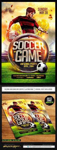 Soccer Flyer Template PSD Super Easy to edittext and Elements ALL TEXT ISEDITABLEResolution: PSD , Well organized in folders and color coordinated 46 All Elements Use in this flyer are Custom Made Elements and are included All fonts Event Flyer Templates, Flyer Design Templates, Psd Templates, Baseball Card Template, Baseball Cards, Sports Templates, Sports Flyer, American Sports, Dinners For Kids