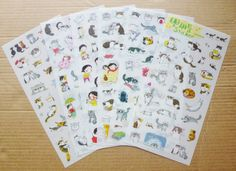 Cute Cat Sticker 6 Sheets by AzraelWest on Etsy