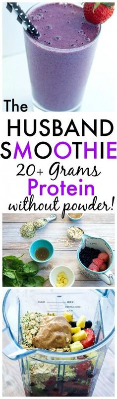 "This is The Husband Protein Smoothie. An all-natural, vegan smoothie with over 20 grams of protein without any protein powder! This keeps my 6'4"" husband full until lunch time! A great quick and healthy breakfast idea."