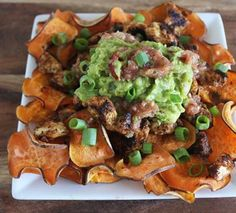 10 Crazy Creative Paleo Nacho Recipes: Loaded Paleo Nachos topped with Chicken Guacamole, Salsa, Jalapeños