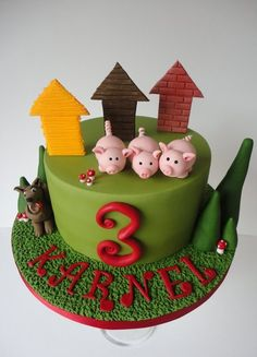 the three little pigs and the big bad wolf - by krumblies @ CakesDecor.com - cake decorating website