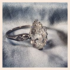 edwardian pear diamond engagement rings - 5 carats of antique pear deliciousness!