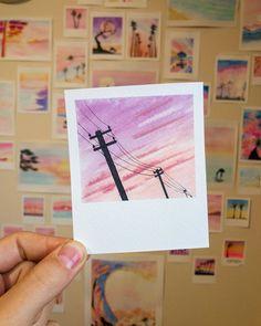 Paintbrush Polaroids – – Lines … – - Mini canvas art Cute Canvas Paintings, Small Canvas Art, Mini Canvas Art, Watercolor Drawing, Painting & Drawing, Watercolor Paintings, Pink Painting, Space Painting, Painting Abstract