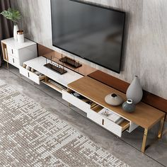 Square TV Cabinet And Coffee Table Tv Stand Furniture, Cool Furniture, Furniture Design, Tv Stand High Gloss, Tv Console Design, Tv Stand And Coffee Table, Nordic Living Room, Furniture Assembly, Home Room Design