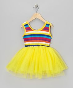Happiness is only a twirl away in this light, fluffy dress. The comfy cotton top features bright, trendy stripes while the fluffy skirt whisks cares away.