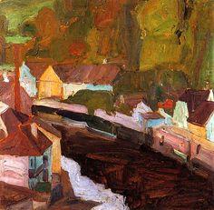 Village by the River II Egon Schiele - 1908