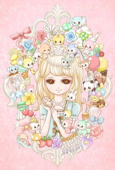 come to tea party by marron-nagao Kawaii Art, Kawaii Anime, Kawaii Stuff, Desu Desu, Kawaii Illustration, Vintage Paper Dolls, Anime Style, Cute Wallpapers, Cute Art