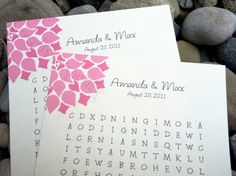 Custom Word Search Puzzle - Bloom - Perfect for weddings, rehearsal dinners and showers via Etsy