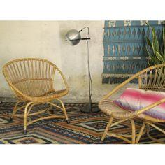 Mid Century Rotan fauteuils