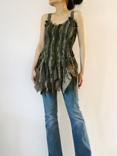 Green Seaweed Tank Top Hand Dyed Straps Tattered Lace Tulle Organza Cotton Satin Linen Stretchy Top By Zollection (Small-Medium)