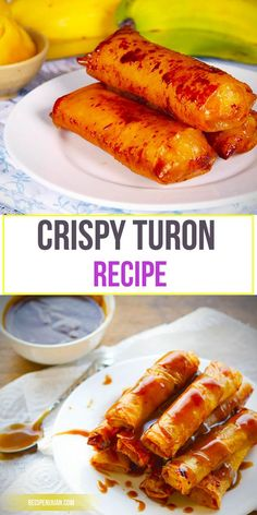 "This Turon recipe ( Banana Lumpia) is a perfect snack or dessert. This kind of snack is like a fried spring roll of the Chinese but uses a sweet plantain bananas or locally known as ""Saging na Saba"". Basically, this recipe is a rice wrapper filled with a Pinoy Dessert, Filipino Desserts, Asian Desserts, Asian Recipes, Filipino Food, Filipino Dishes, Easy Filipino Recipes, Filipino Culture, Chinese Desserts"
