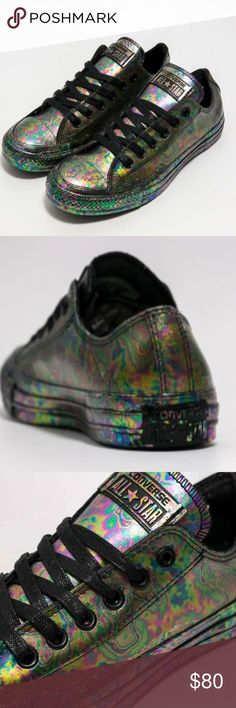 """Converse Limited edition rubber oil slick black All Star Ox Rubber """"Oil Slick"""" in iridescent rubber with jersey lining. Limited edition  The jersey-lined, water-resistent rubber upper construction delivers a lustrous, colorful new look while keeping those droplets at bay. A gusseted tongue and no medial eyelets help keep your feet dry. Out of this world wish they were not a size too small! Never worn brand-new without tags! Extremely limited I wd not hesitate on these. Converse Shoes…"""