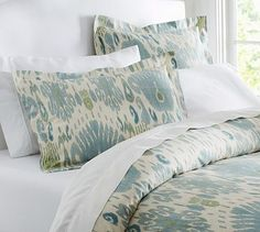 Vivian Ikat Sham, Standard, Blue, Pottery Barn - duvet cover and shams only Home Bedroom, Master Bedroom, Bedroom Decor, Bedroom Ideas, Bedroom Designs, Bedroom Inspiration, Blue Pottery, Pottery Barn, Ikat Bedding