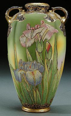 'Nippon coralene decorated porcelain vase'